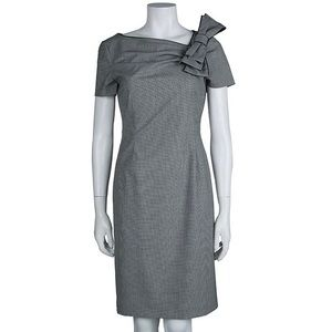 Red Valentino Micro Houndstooth Bow Sheath Dress
